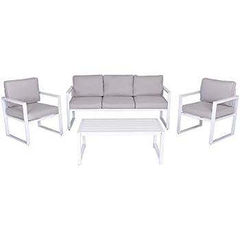 Giardino E Terrazza Ideale per Esterno Enrico Coveri Garden Salotto Completo 4 Posti Lounge Bianco in Acciaio