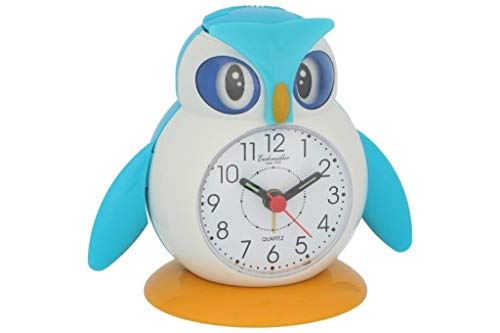 Eichmüller Kinderwecker Eule blau Analogwecker mit Alarm Snooze und Licht 9848-01