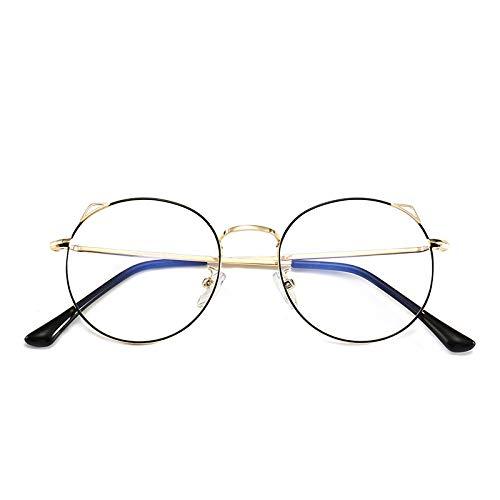 Yangjing-hl Damen niedlichen Rahmen Katzenohren Brillengestell runden Rahmen College Wind Retro Persönlichkeit Brillengestell schwarz Goldrahmen
