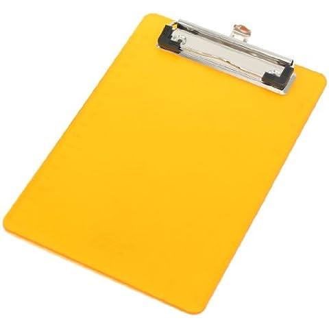 Office-Cartellina con Clip in plastica, colore: arancione,