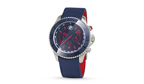 Price comparison product image BMW Genuine Motorsport Steel Chrono ICE Watch Leather Strap Waterproof