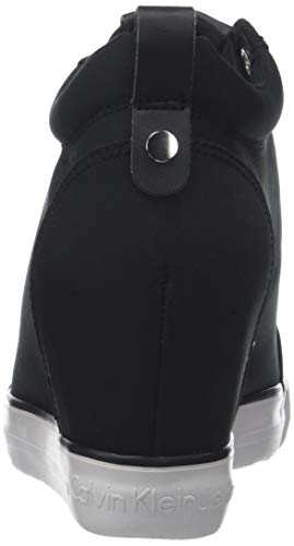 Calvin Klein Jeans Damen Ritzy Nylon Hohe Sneaker, Schwarz (Black 000), 38 EU