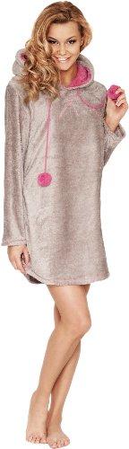 Merry Style Femme Blouse Poncho avec Capuche Gris