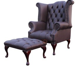 Designer Sofas4u Chesterfield Offrent Queen Anne boutonné Haut Dossier Noir Wing Chaise Repose-Pieds Cuir Chocolat foncé
