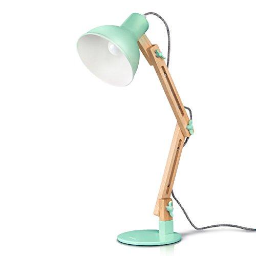 Lámpara de Escritorio,Columpio del Brazo,lámpara de Mesa Ajustable y Desmontable de Madera para Oficina, Sala, Estudio y Dormitorio, Verde - Tomons