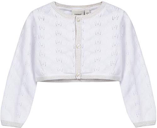NAME IT Baby-Mädchen Strickjacke Nbfsanne LS Knit Bolero, Weiß (Bright White), 86