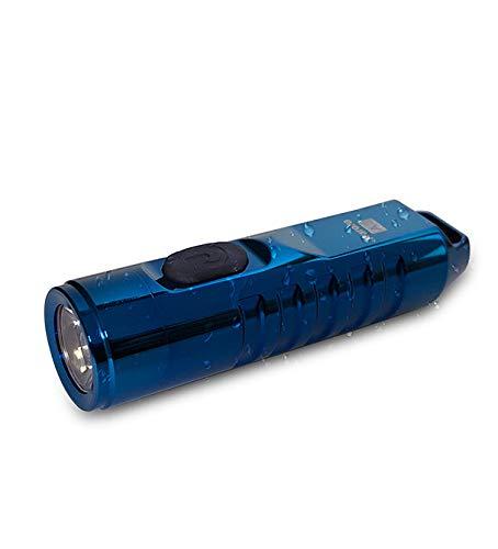 A2 Torch,550 Lumen CREE XP-G3 S5 LED Schlüsselbund Wiederaufladbar EDC Taschenlampe,45 Minuten Schnell Aufladen,IP65 Wasserfest Edelstahl Klein Fackel(Blau)
