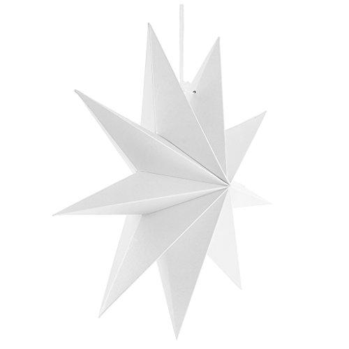 Halloween Dekor Fenster (MagiDeal Papier Adventsstern Weihnachtsstern Stern 3D Papier Fensterstern Deko zum Aufhängen - Weiß, 30)