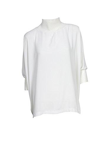 GWYNEDDS Damen Blusenshirt Jasper mit Rollkragen Weiss 11 White M (Seide Jersey Rollkragen)