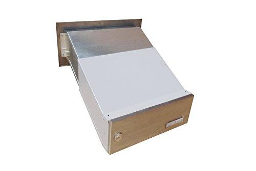 D-041 – Edelstahl Mauerdurchwurf Briefkastenanlage (variable Tiefe) mit Klingel und Namensschild – Letterbox24.de - 2