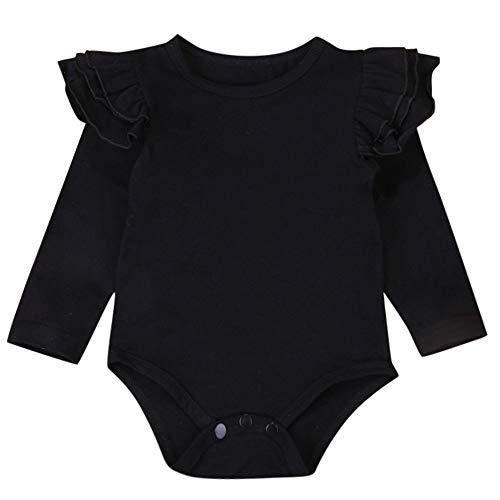 QinMM Body Recién Nacido bebé Niños Niñas Sólido Volantes Manga Larga Body Romper