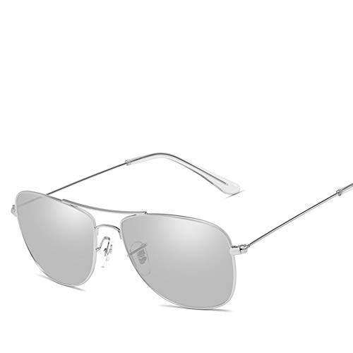 KYS Aviator Polarized Sunglasses Metallrahmen Ultra Light Anti-GlareDriving Golf Radfahren Angeln Sportbrillen UV400 Schutz Unisex (Color : Chrome)