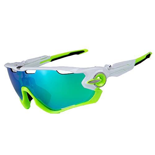 95ddb4d615 Ciclismo Gafas de Sol Jawbreaker polarizado Hombres Gafas Deportivas 4  Lentes Ciclismo Gafas Gafas de Bicicleta (Blanco Verde)