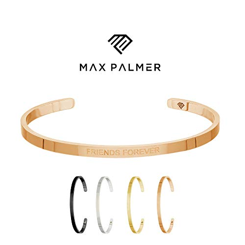 Max Palmer | BFF Armband/Armreif mit Spruch Gravur Friends Forever [03.] - Rosegold - Schwarzes T-shirt Gold Band