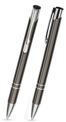 50er Set Metallkugelschreiber LIBO anthrazit mit gleicher Gravur u. einem Schlüsselanhänger von filzschneider - personalisierte Kugelschreiber ideal für Hochzeiten/Werbegeschenk - auch mit Logo (Kugel-schlüsselanhänger 50)