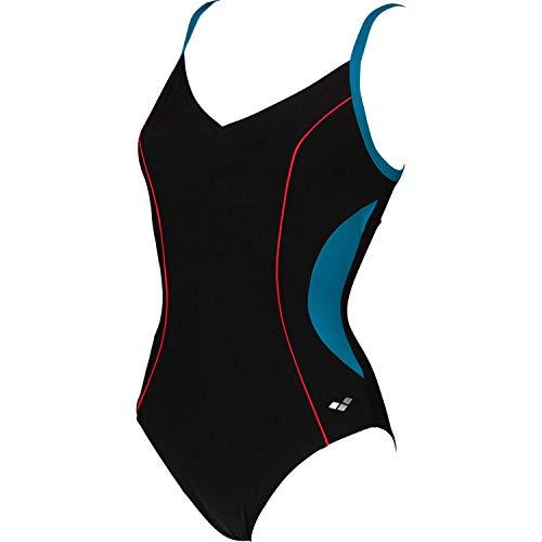 arena Damen Bodylift Badeanzug Gaia C-Cup, Black-Curacao-Papavero, 42