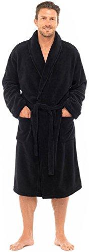 Bata de lujo de Michael Paul para hombre, de suave forro polar Negro Black Plain M/L