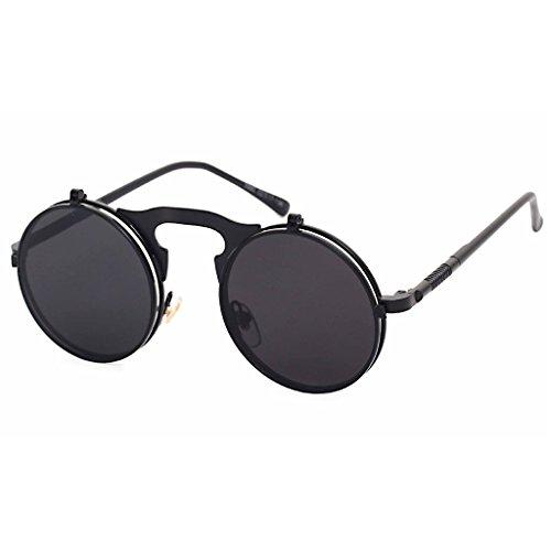 Highdas Steam Punk Sunglasses Gothic Vintage personnalit¨¦ Clamshell Lunettes Homme Femme ronde en m¨¦tal Shades Gris/Noir