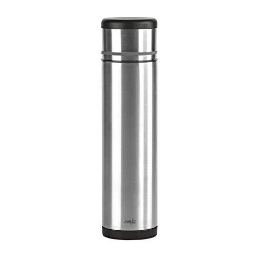 emsa edelstahl thermoskanne Emsa 509239 Isolierflasche (Mobil genießen, 1,0 Liter, Safe Loc Pro Verschluss, Mobility) schwarz/anthrazit