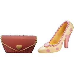 06#121317 Schokoladen Handtasche (T03) mit Schuh (S18) Muttertag, weiße Schokolade mit rosa Punkten, Stöckelschuh, High Heels, Geschenk, NEU