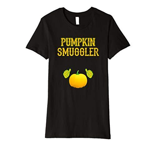 (Damen Damen Kürbis Smuggler Schwangerschafts Kostüm Happy Halloween Shirt)