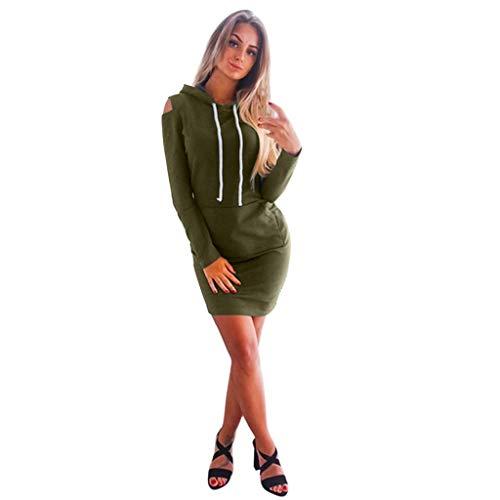 Damen Langarm trägerlos mit Kapuze Minikleider Tasche A-Line Kleid (L, Armeegrün)