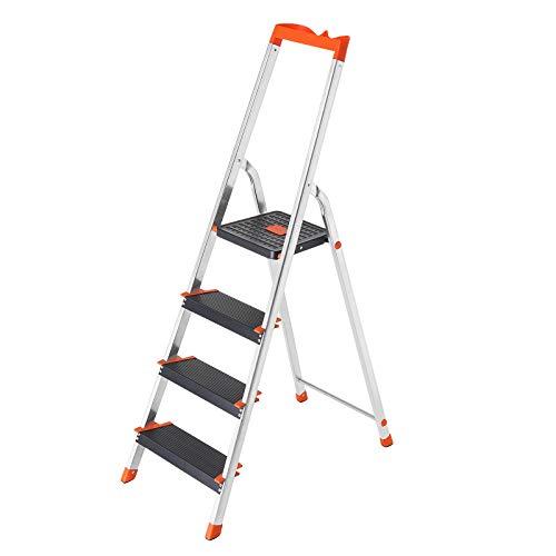 SONGMICS Leiter 4 Stufen, Aluleiter, 12 cm breite Stufen, Stehleiter, Werkzeugschale, Klappleiter, rutschfest, max. statische Belastbarkeit 150 kg, TÜV Rheinland GS-Zertifikat, erfüllt EN131 GLT04BK