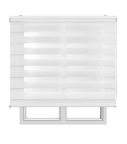 Estores Basic, Stores noche y día, Blanco, 150x250cm, estores plegable, persianas enrollables para el interior.