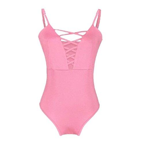 Costume da Bagno, MEIbax Donne costume da bagno push up imbottito monokini separato Swimwear colorato balneazione un pezzo Rosa