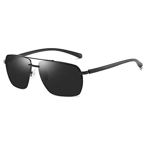LEIAZ Herrensonnenbrille, Polarisierte Sonnenbrille Klassischer Halbrahmen Quadrat Aus Metall Beständig Gegen Uv-Strahlen, Geeignet Für Reisen Im Freien