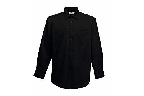 Fruit of the Loom Herren Freizeithemd Long Sleeve Poplin Shirt Schwarz (Black 36)