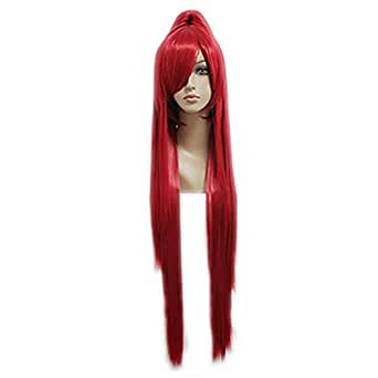 Halloween Costume Erza Scarlet Cosplay Perruque Seul PoneyQueu Wig Long Rouge Tout droi Cheveux Acessorise