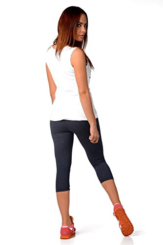 Leggings 3/4 Capri viele Farben Gr. S M L XL 2XL 3XL, P832 XL/42 Jeansblau