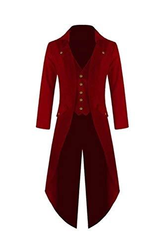 Uomini Gotico Frac Giacca Vintage Steampunk Vittoriano Lungo Cappotto Red L