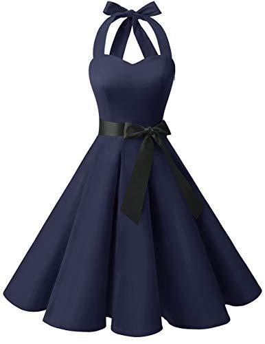bridesmay 1950er Retro Rockabilly Neckholder Cocktail Abendkleid Petticoat Faltenrock Navy XL Neckholder Petticoat