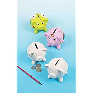 Baker Ross Ceramic Piggy Banks (Pack of 4) For Kids To Colour in and Decorate