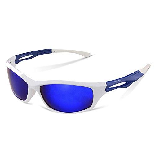 DUCO Polarisierte Sport-Sonnenbrille zum Laufen Radfahren Angeln Golf TR90 Unbreakable Rahmen 6199 (Weiß)