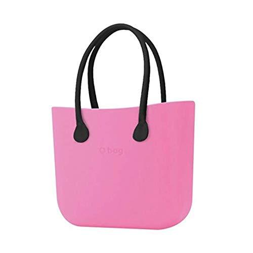Borsa o bag grande pink manico lungo nero e sacca