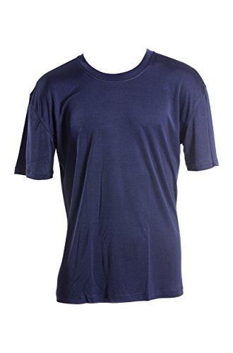 SUPERIOR NATURALS, T-Shirt, Basic, Kurzarm, 100% Seide, Interlock, Blau, XL - Kurzarm Seide Shirts Herren