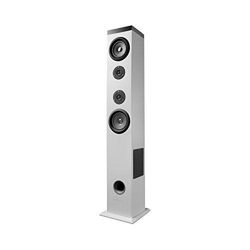 Energy Sistem Tower 5 Bluetooth (sistema di altoparlanti 2.1 a torre, con potenza reale di 60W, panello tattile retroilluminato, USB/SD, radio FM) - Bianca