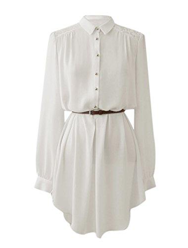 Allegra K Damen Punktkragen Langärmelig Streifen Aus Spitze Rücken Hemd Kleid weiß-lange