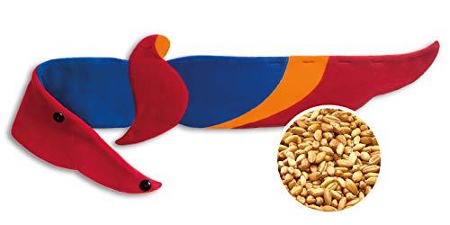 Leschi WÄRMEKISSEN lindert Rücken- und Bauchschmerzen/für Mikrowelle und Ofen/Körnerkissen für Damen, Kinder und Babys/Papagei Joaquin, blau rot orange
