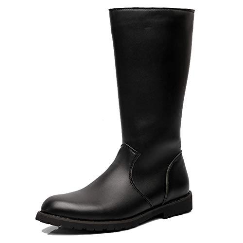 Yra Herren Long Boots Reitstiefel Wanderschuhe Leder Seitliche Zip Round Toe Martin Stiefel Für Männer Chelsea Boots Cowboy Boots,Black-43 Chelsea Zip