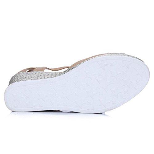TAOFFEN Femme Confort Peep Toe Sandales Talon Haut Compense Plateforme Boucle abricot