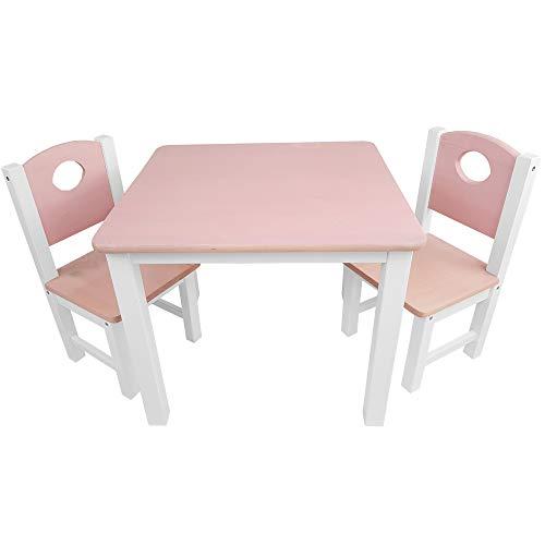 Kinder-Sitzgruppe - Kinderzimmer Set: 1 Tisch und 2 Stühle - top Möbel-Qualität aus Kiefer Massivholz - Kindertisch und Kinderstühle für Jungen und Mädchen, Farbe:Rosa