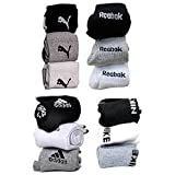 Socks Branded Cotton Cushion Socks Ankle Length Pack Of 12 Pairs White/ Grey/ Black