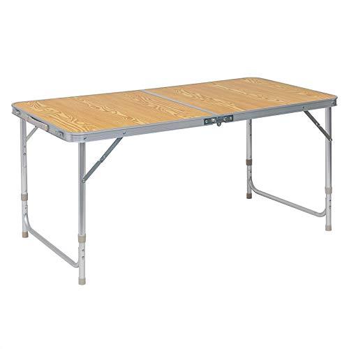 WOLTU® Campingtisch Klapptisch Gartentisch Arbeitstisch Balkontisch höhenverstellbar Aluminium MDF Hell Eiche CPT8122hei