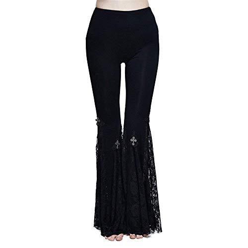 Yingsssq Costura de Encaje gótico Vintage para Mujer Hollow de Fête Style out Leggings Colores sólidos Slim Fit Cintura elástica Pantalones Acampanados (Color : Colour, tamaño : S)