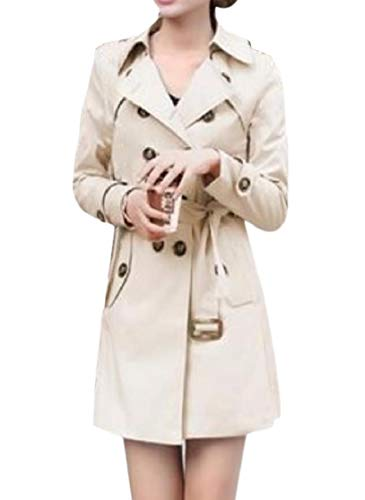 CuteRose Women Double Breasted Curvy Belt Turn-down Collar Trench Coat Jacket Khaki 2XL Breasted Belted Wool Coat