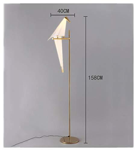 QPSGB Lámpara de pie Sala de Estar Dormitorio Moderno y Moderno IKEA Lámpara de cabecera Vertical Creativa Estudio Bird Bird Paper Crane Lamp -6301 lámpara de Piso (UnitCount : Solo Cabezal)